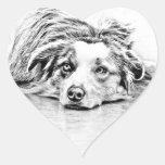 Australian Shepherd dog art Heart Stickers