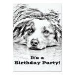 Australian Shepherd dog art 13 Cm X 18 Cm Invitation Card