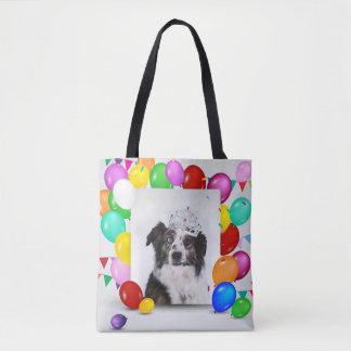 Australian Shepherd Dog Balloons Crown Birthday Tote Bag