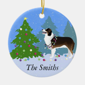 Australian Shepherd Dog Decorating Christmas Tree Christmas Ornament