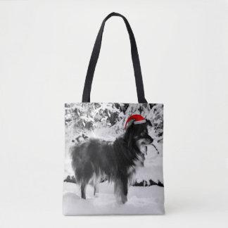 Australian Shepherd Dog Red Santa Hat Oil Painting Tote Bag