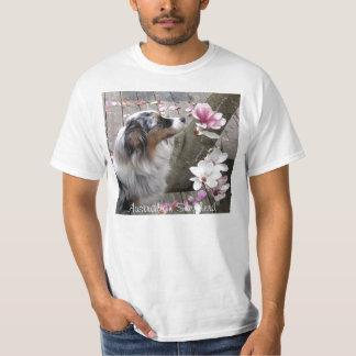 Australian Shepherd Dog Sniffs Magnoia Flower T-Shirt