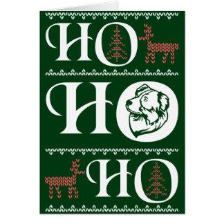 Australian Shepherd Dog Ugly Christmas Ho Ho Ho Card
