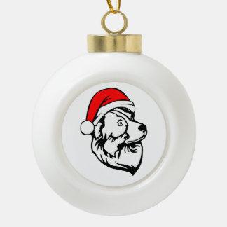 Australian Shepherd Dog with Christmas Santa Hat Ceramic Ball Christmas Ornament