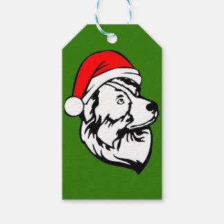 Australian Shepherd Dog with Christmas Santa Hat Gift Tags