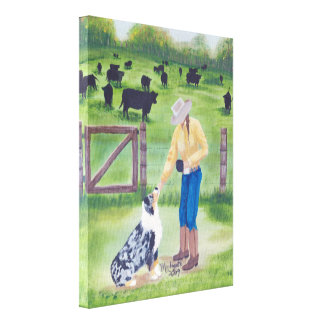 Australian Shepherd End of the Day Painting Canvas Print