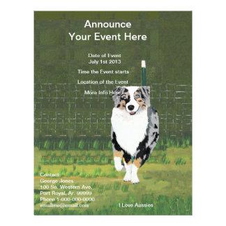"Australian Shepherd ""Happy Puppy"" Painting 21.5 Cm X 28 Cm Flyer"