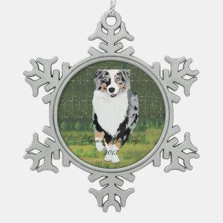 "Australian Shepherd ""Happy Puppy"" Painting Snowflake Pewter Christmas Ornament"