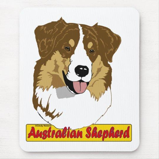 Australian Shepherd head- red tri coloured Mouse Mat