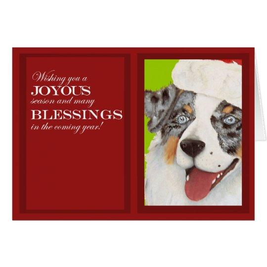 Australian Shepherd in Santa Hat Christmas Card