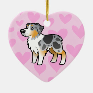 Australian Shepherd Love Ceramic Heart Decoration