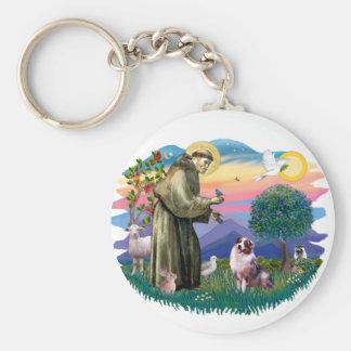 Australian Shepherd (merle) Basic Round Button Key Ring