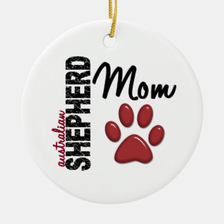 Australian Shepherd Mom 2 Christmas Ornaments