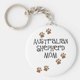 Australian Shepherd Mom Basic Round Button Key Ring