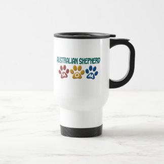 AUSTRALIAN SHEPHERD MOM Paw Print Stainless Steel Travel Mug