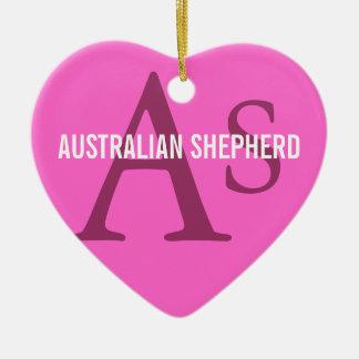 Australian Shepherd Monogram Ceramic Heart Decoration