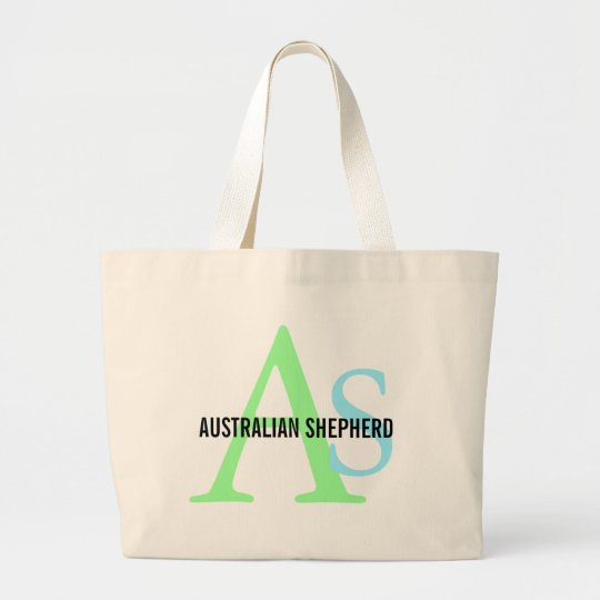 Australian Shepherd Monogram Large Tote Bag