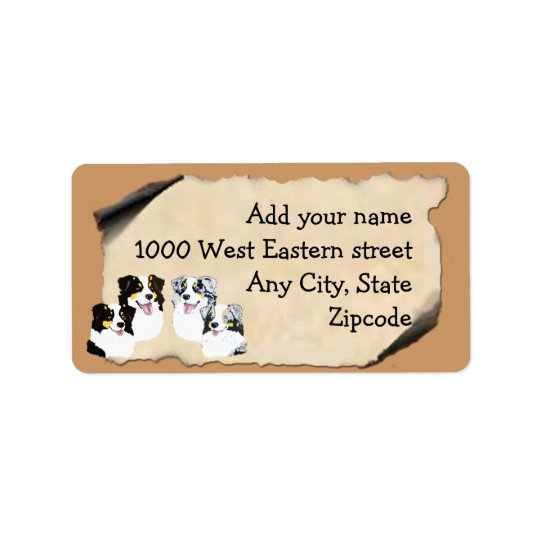 Australian Shepherd on Old Parchment Address Label