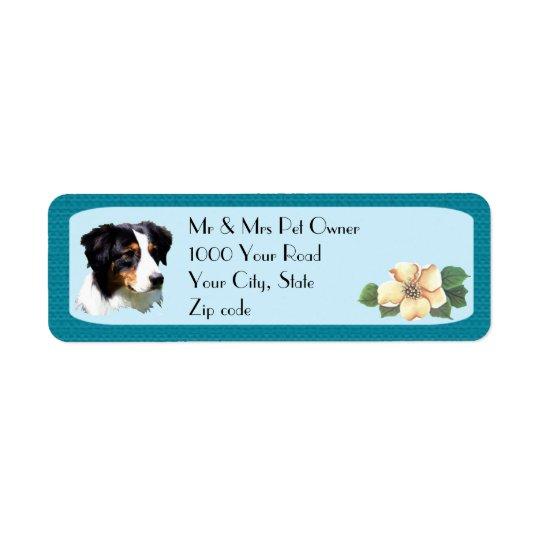 Australian Shepherd on Turquoise Floral Return Address Label