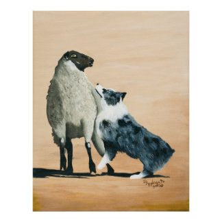 Australian Shepherd One Tough Sheepdog Painting Poster