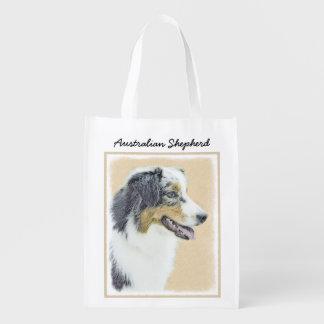 Australian Shepherd Painting - Cute Original Art Reusable Grocery Bag