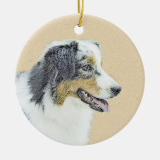 Australian Shepherd Painting - Original Dog Art Christmas Ornament