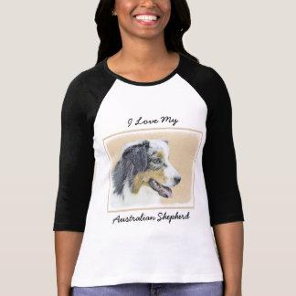 Australian Shepherd Painting - Original Dog Art T-Shirt
