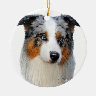 Australian Shepherd Portrait Christmas Ornament