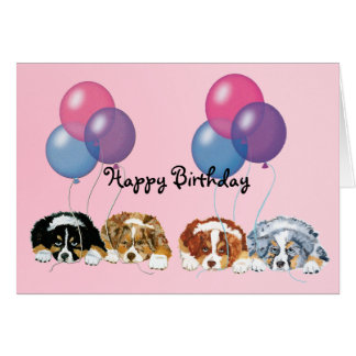 Australian Shepherd Puppies Happy Birthday Card