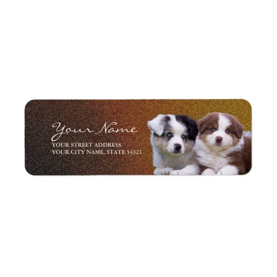 Australian Shepherd Puppies Return Address Label