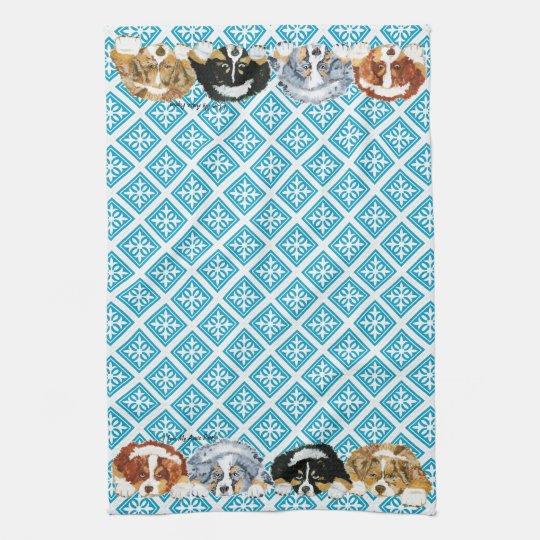 Australian Shepherd Puppies Tea Towel