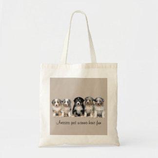 Australian Shepherd Puppies Tote Bag