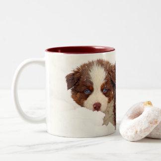 Australian Shepherd Puppies Two-Tone Coffee Mug