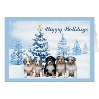 Australian Shepherd Puppy Christmas Card Blue Tree