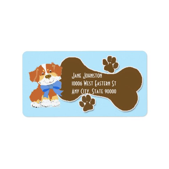 Australian Shepherd Red Cartoon Dog Address Label