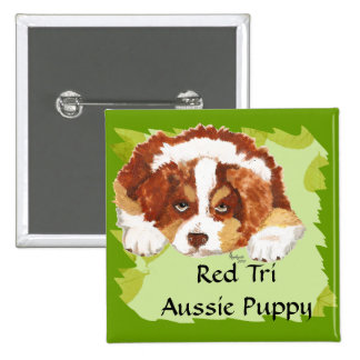 Australian Shepherd Red Tri Puppy ~ Green Leaves 15 Cm Square Badge