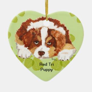 Australian Shepherd Red Tri Puppy ~ Green Leaves Christmas Ornament