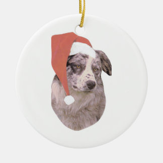Australian Shepherd Santa Hat Ornament