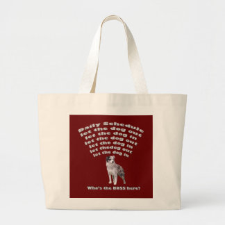 Australian Shepherd Schedule Large Tote Bag