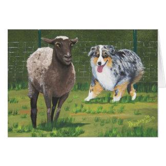 "Australian Shepherd ""Sheep Dogs"" Painting Card"