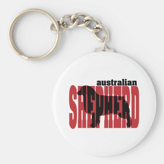 Australian Shepherd silhouette Basic Round Button Key Ring