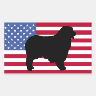 australian shepherd silhouette flag rectangular sticker