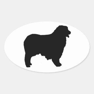 australian shepherd silhouette oval sticker