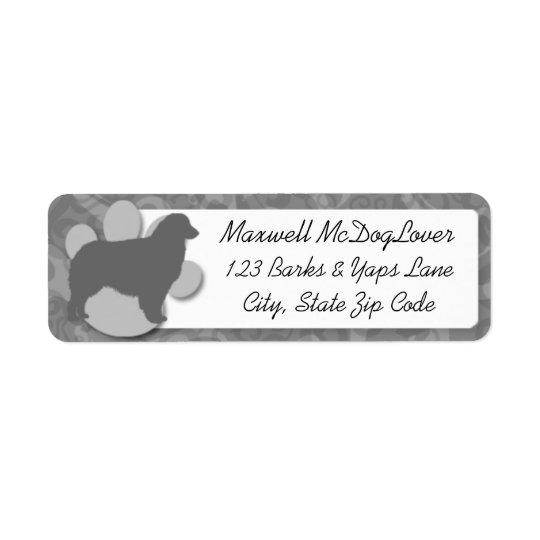 Australian Shepherd Silhouette Return Address Label