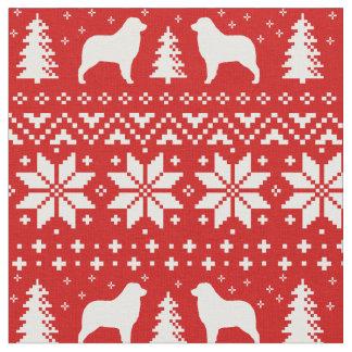 Australian Shepherd Silhouettes Christmas Pattern Fabric