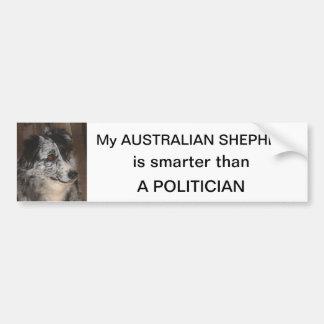 Australian Shepherd smarter than a Politician Car Bumper Sticker
