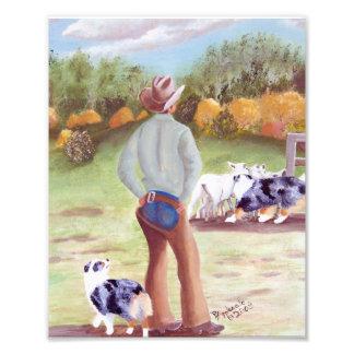 """Australian Shepherd """"Training Day"""" Painting Art Photo"""