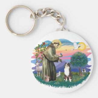 Australian Shepherd (tri) Basic Round Button Key Ring