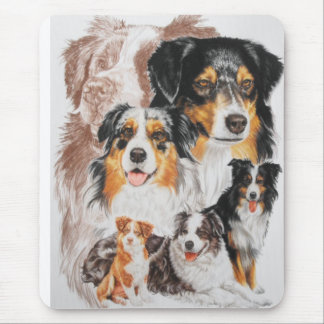 Australian Shepherd with Ghost Mouse Mat
