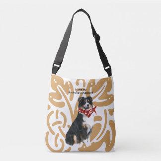 Australian Shepherd with old gold print Crossbody Bag